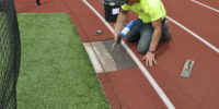 Use a torch to remove old track surface